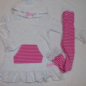 Ruffle Girl Hoodie Tunic and Pink Striped Leggings